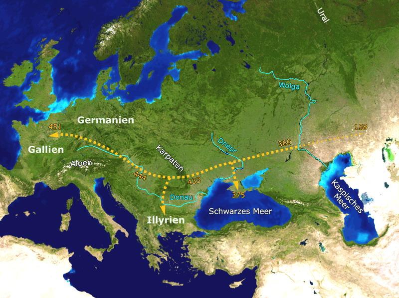 Гуннская империя при аттиле и её приблизительные границы